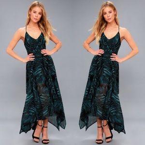 Lulu's Turtle Bay Print Sleeveless Midi Dress